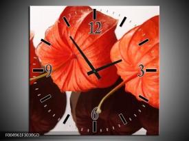 Wandklok op Glas Keuken | Kleur: Oranje, Wit | F004961CGD