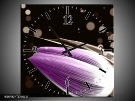 Wandklok op Glas Tulp | Kleur: Paars, Zwart | F004969CGD