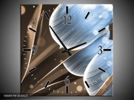 Wandklok op Glas Tulp   Kleur: Blauw, Bruin   F004979CGD
