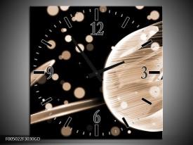 Wandklok op Glas Tulp | Kleur: Bruin, Zwart | F005022CGD