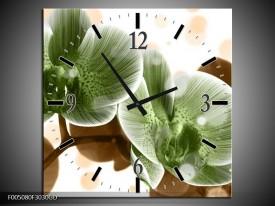 Wandklok op Glas Orchidee | Kleur: Groen, Bruin | F005080CGD