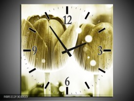 Wandklok op Glas Tulp | Kleur: Geel, Wit | F005112CGD