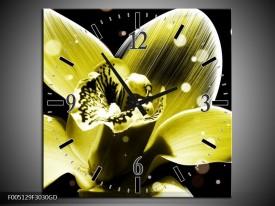 Wandklok op Glas Iris | Kleur: Geel, Zwart | F005129CGD