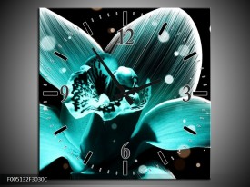 Wandklok op Canvas Bloem | Kleur: Blauw, Zwart | F005132C