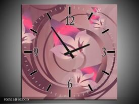 Wandklok op Glas Modern | Kleur: Paars, Roze | F005174CGD
