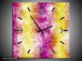 Wandklok op Glas Modern | Kleur: Paars, Geel | F005185CGD