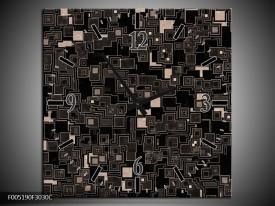 Wandklok op Canvas Modern   Kleur: Zwart, Grijs   F005190C