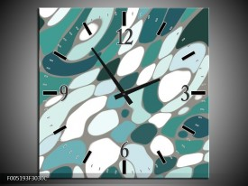 Wandklok op Canvas Modern | Kleur: Blauw, Wit | F005193C