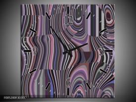 Wandklok op Canvas Modern | Kleur: Zwart, Grijs, Paars | F005200C