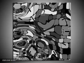 Wandklok op Canvas Modern   Kleur: Grijs, Zwart, Wit   F005204C
