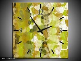 Wandklok op Canvas Modern | Kleur: Geel, Groen | F005219C