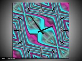 Wandklok op Canvas Modern | Kleur: Blauw, Paars | F005236C