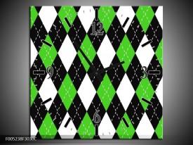 Wandklok op Canvas Modern   Kleur: Groen, Wit   F005238C