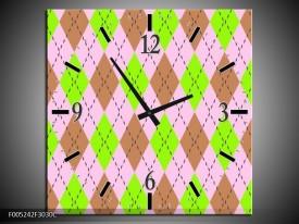 Wandklok op Canvas Modern | Kleur: Groen, Bruin, Roze | F005242C