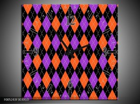 Wandklok op Glas Modern | Kleur: Oranje, Paars, Zwart | F005243CGD