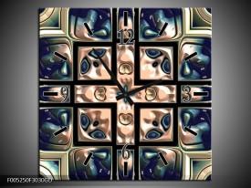 Wandklok op Glas Modern | Kleur: Blauw, Wit | F005250CGD