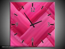 Wandklok op Glas Modern   Kleur: Roze   F005254CGD