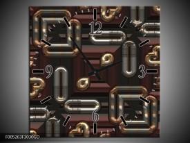 Wandklok op Glas Modern | Kleur: Grijs, Bruin | F005263CGD
