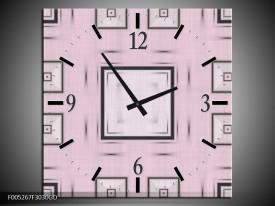 Wandklok op Glas Modern   Kleur: Roze, Zwart, Grijs   F005267CGD