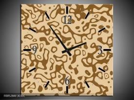Wandklok op Canvas Modern   Kleur: Bruin, Grijs   F005284C