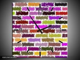 Wandklok op Glas Modern | Kleur: Paars, Groen, Geel | F005294CGD