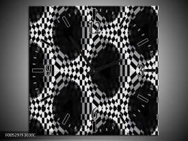 Wandklok op Canvas Modern | Kleur: Zwart, Wit, Grijs | F005297C