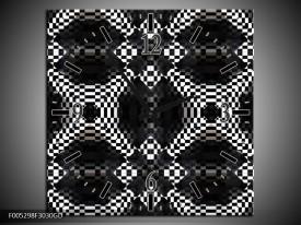 Wandklok op Glas Modern   Kleur: Zwart, Wit, Grijs   F005298CGD