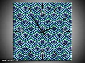 Wandklok op Glas Modern   Kleur: Blauw, Groen   F005301CGD