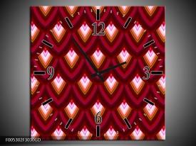 Wandklok op Glas Modern   Kleur: Rood, Bruin, Grijs   F005302CGD