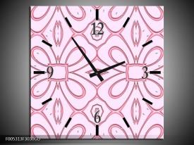 Wandklok op Glas Modern | Kleur: Roze, Grijs | F005313CGD