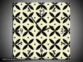 Wandklok op Glas Modern | Kleur: Zwart, Wit, | F005315CGD