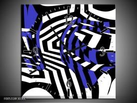 Wandklok op Canvas Modern | Kleur: Blauw, Zwart, Wit | F005318C