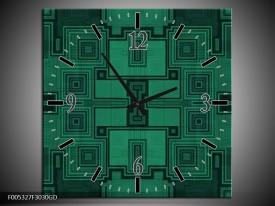 Wandklok op Glas Modern   Kleur: Groen, Zwart   F005327CGD