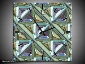 Wandklok op Canvas Modern | Kleur: Grijs, Groen, Wit | F005330C