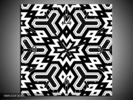 Wandklok op Canvas Modern | Kleur: Zwart, Wit, Grijs | F005333C