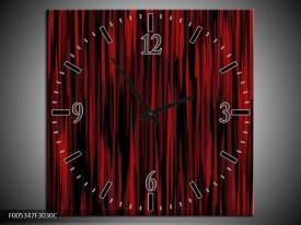 Wandklok op Canvas Modern | Kleur: Rood, Zwart | F005347C