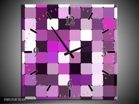 Wandklok op Canvas Modern | Kleur: Grijs, Paars, Roze | F005354C