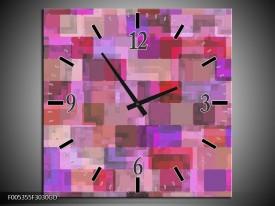 Wandklok op Glas Modern   Kleur: Grijs, Paars, Roze   F005355CGD