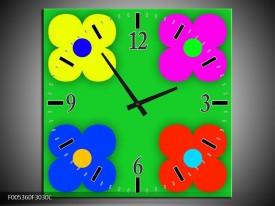 Wandklok op Canvas Modern | Kleur: Groen, Blauw, Geel | F005360C
