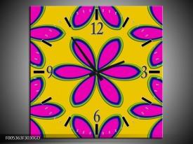Wandklok op Glas Modern | Kleur: Geel, Roze, Blauw | F005363CGD