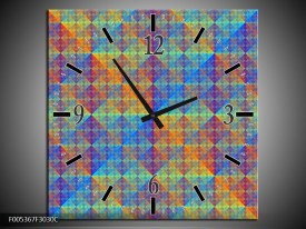 Wandklok op Canvas Modern   Kleur: Blauw, Groen, Oranje   F005367C