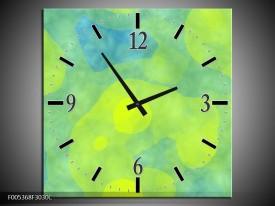 Wandklok op Canvas Modern   Kleur: Groen, Blauw   F005368C