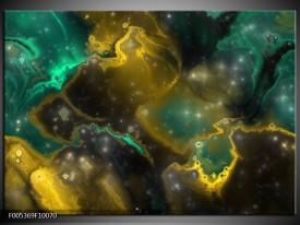 Foto canvas schilderij Modern | Groen, Grijs, Geel