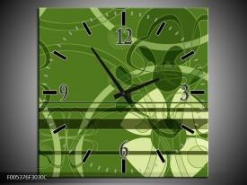 Wandklok op Canvas Modern | Kleur: Groen, Wit | F005376C
