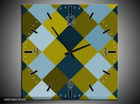Wandklok op Canvas Modern | Kleur: Blauw, Groen, Geel | F005384C