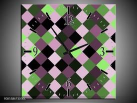 Wandklok op Canvas Modern | Kleur: Groen, Paars, Zwart | F005386C