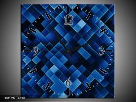 Wandklok op Canvas Modern | Kleur: Blauw, Zwart | F005392C