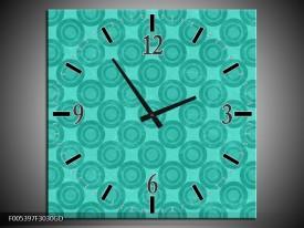 Wandklok op Glas Modern | Kleur: Blauw | F005397CGD