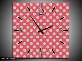 Wandklok op Canvas Modern   Kleur: Roze, Wit   F005401C