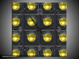 Wandklok op Glas Modern   Kleur: Geel, Grijs   F005405CGD